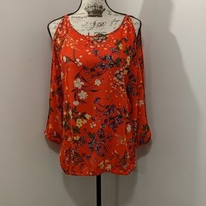 New York & Company Cold Shoulder Floral Blouse